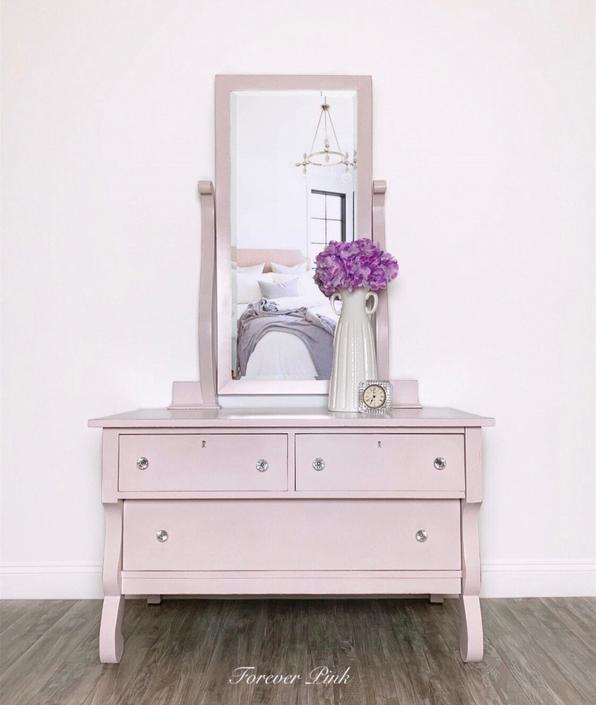 Vintage Four Drawer Dresser with Mirror by ForeverPinkVintage