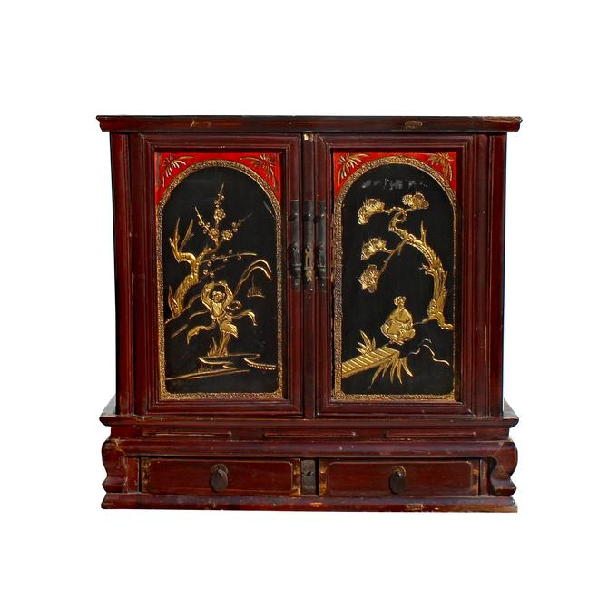 Chinese Vintage Fujian Golden Carving Low Table Cabinet cs5860E by GoldenLotusAntiques