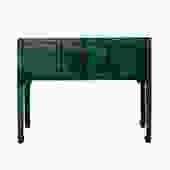 Chinese Oriental Rustic Teal Green Lacquer Drawers Slim Side Table cs5406S