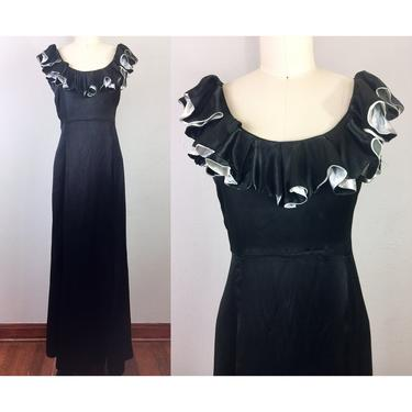 Vintage 30s Black Liquid Satin Gown Hollywood Glam Dress Ruffle Neck 1930s Party Evening S by FlashbackATX