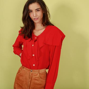80s Bright Red Statement Collar Top Vintage Long Sleeve Blouse by AppleBranchesVintage