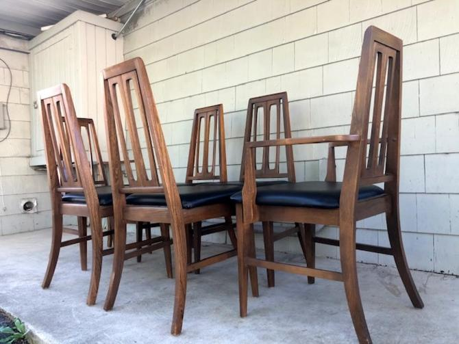 Set of Six Midcentury Highback Dining Chairs