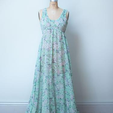 1970s Ethereal Floral Print Dress / 70s Sheer Sundress by FemaleHysteria