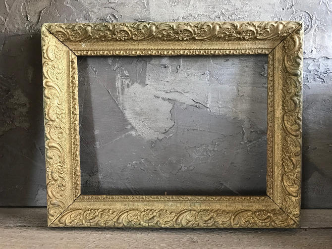 French Gesso Wood Frame Gold Gilt Antique Picture Frame Wall Frame ...