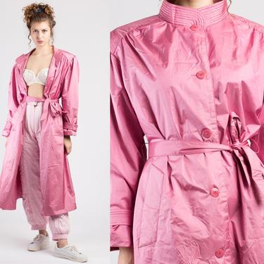 80s Shiny Belted Pink Trench Coat - Extra Large   Vintage Oversized Long Jacket by FlyingAppleVintage