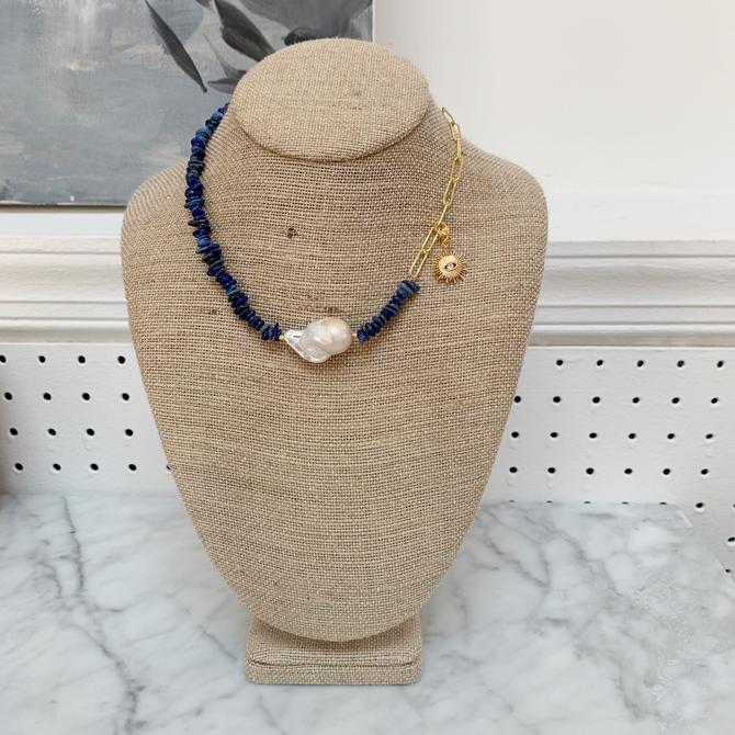 Chunky Lapis & Pearl Necklace