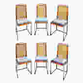 Willy Rizzo Set of 6 Dining Chairs in Chrome and Burl Wood 1970s