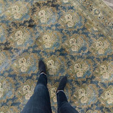 """Antique 8'8"""" x 11'6"""" Large Floral Allover Design Blue Green Hand Knotted Wool Low Pile Rug 1920s - FREE DOMESTIC SHIPPING by HouseofSeance"""