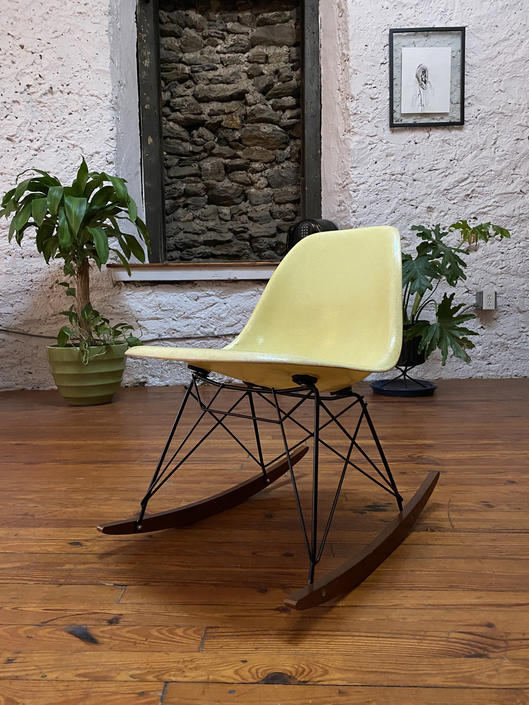 Mid century side chair Eames rocking chair mid century fiberglass shell chair by VintaDelphia