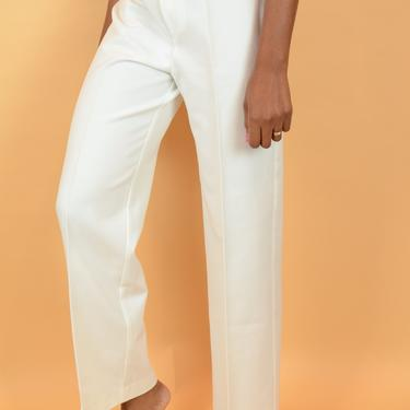 Vintage White High Rise Flare Trousers by MAWSUPPLY