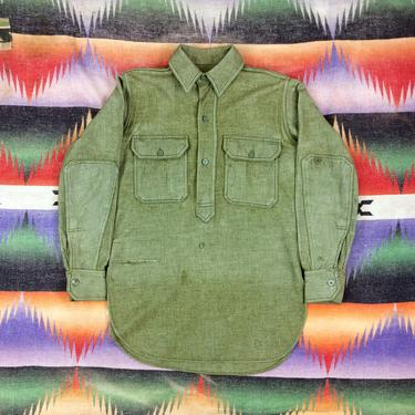 Size Small Vintage WW1 US Army M-17 Pullover Green Wool Flannel Shirt w/ Repairs #1 by BriarVintage