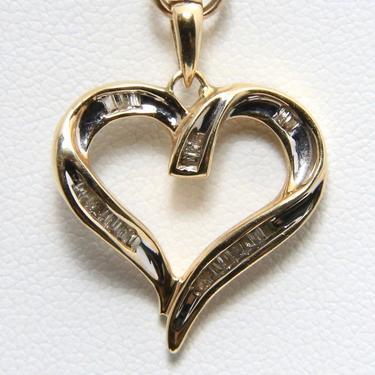 Vintage Heart Necklace Pendant 10k Yellow Gold & Diamond Love Romance Dainty by HouseofVintageOnline