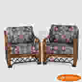 Pair of Rattan Brown Jordan Lounge Chairs