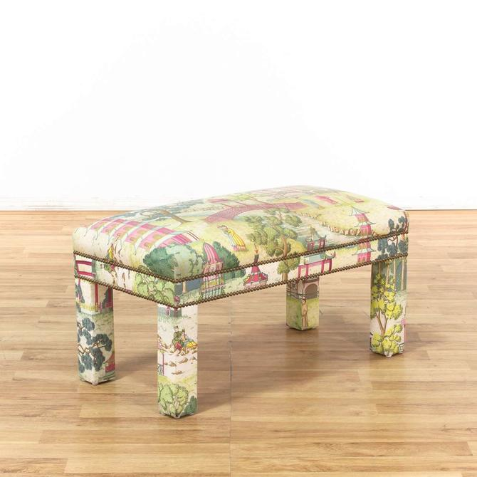Upholstered Asian Green & Pink Bench