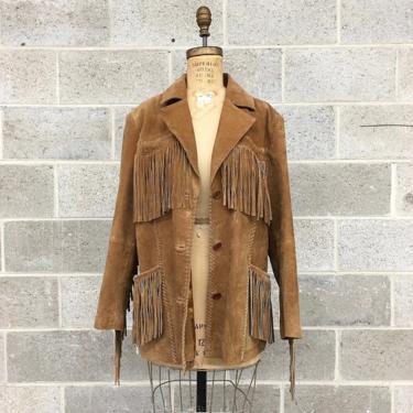 Vintage Fringe Suede Jacket Retro 1990s Pacific Trail + Size Large + Blazer Coat + Genuine Leather + Western Wear + Womens Apparel by RetrospectVintage215