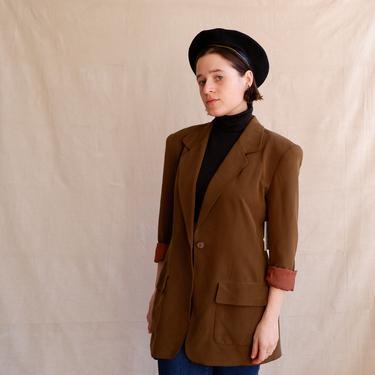 Vintage Olive Silk Blazer/ 1990 Drab Green Jacket/ Jones New York/ Size Medium by bottleofbread