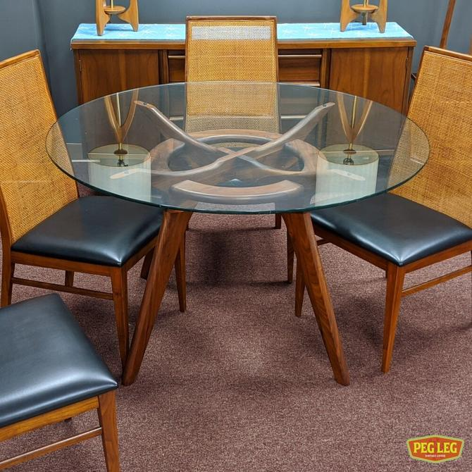 Mid-Century Modern sculpted walnut 'Compass' dining table by Adrian Pearsall for Craft Associates