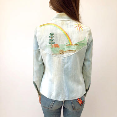 7f137944554 Added on July 16, 2018. Rainbow Denim Jacket // vintage 70s faded 1970s boho  tunic country cotton hippie hipster bohemian dress horse embroidered ...