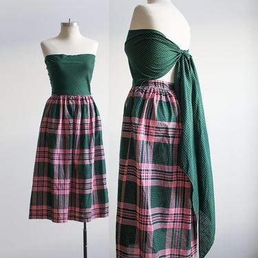 Vintage 1950s Cotton Day Dress / Vintage Plaid Dress / Plaid Gown / True Vintage Party Dress / 1950s Gingham Dress / Bandeau Wrap Dress by milkandice