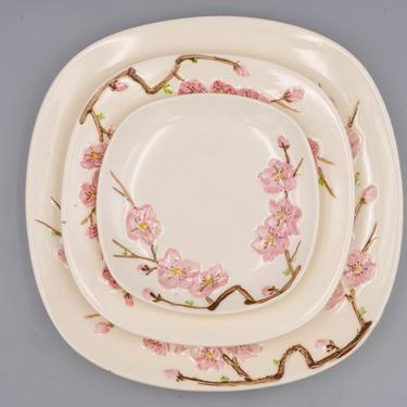 Metlox Poppytrail California Peach Blossom Dinner, Salad or Bread Plate | Vintage California Pottery | Mid Century Modern Square Dinnerware by MostlyMidCenturySF