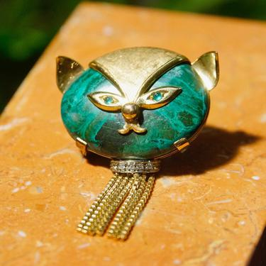 Vintage 18k Gold Diamond Malachite Cat Brooch, Malachite Cat Face With Green Eyes, Gold Ears, and Diamond Collar, Yellow Gold Tassels, 750 by shopGoodsVintage