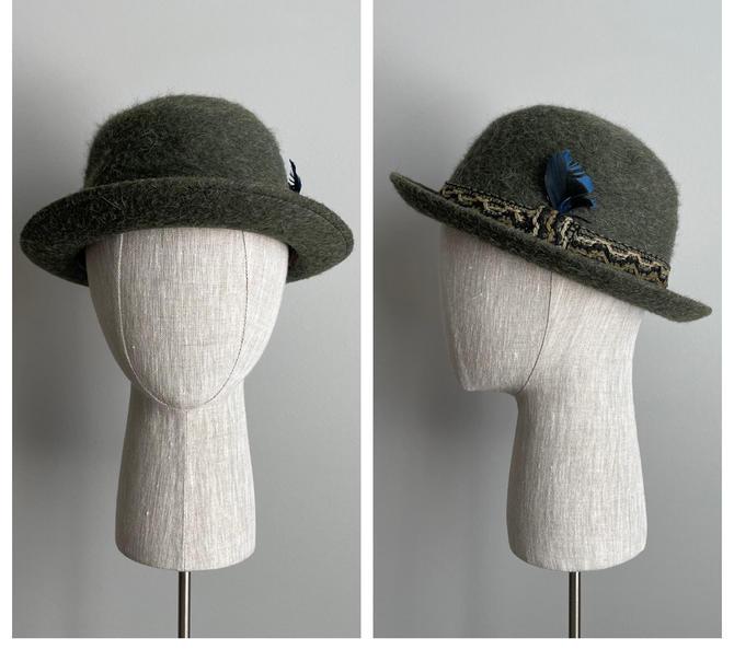 Vintage 50s Green Wool Derby Bowler Hat by VintageChicVa