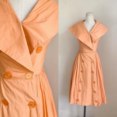 Vintage 1940s/50s Pat Hartly Orange Dress / XS by MsTips