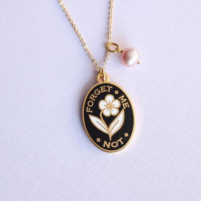 Forget Me Not Necklace - Black // Charm, Victorian Token, Flower, Lavender Pearl, Cloisonné Hard Enamel by shinyapplestudio