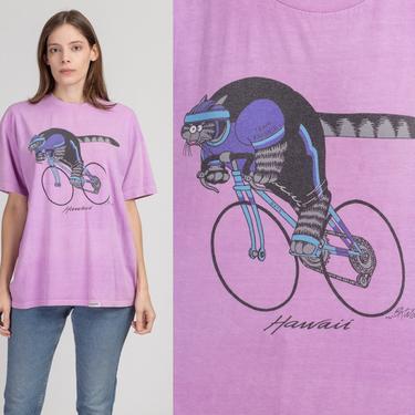 80s Kliban Cat Bicyclist T Shirt - Men's Large | Vintage Unisex Crazy Shirts Hawaii Graphic Tourist Tee by FlyingAppleVintage