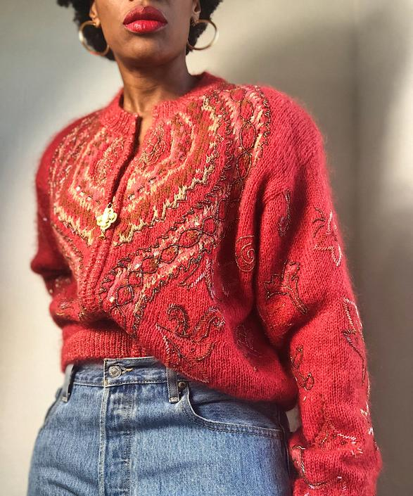 Vintage 1970s 1980s 70s Beaded Zip Front Cardigan Sweater Jacket Salmon Peach Teracotta Hand Beaded Knit Metallic Thread Pearl Bomber Medium by KeepersVintage