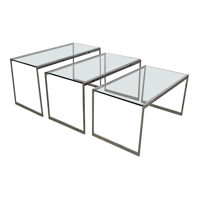 Set of 3 Mid-Century Modern Chrome & Glass Top Nesting Tables/SideTables by AnnexMarketplace