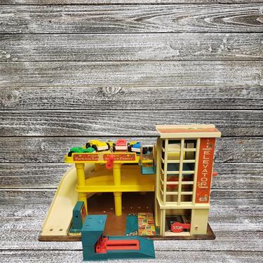 Vintage Fisher Price 1970 Play Family Action Garage 930, Elevator Parking Ramp & Service Station, Car Lift, 4 Single Seat Cars, Vintage Toys by AGoGoVintage