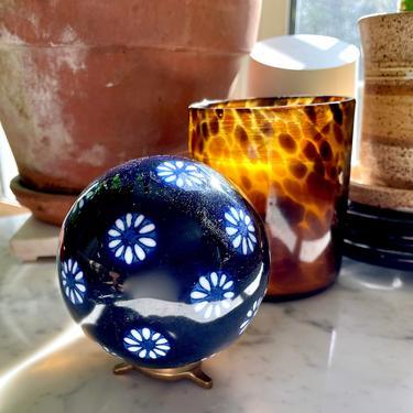 Vintage Daisy Flower Porcelain Carpet Ball, Ceramic Orb Sphere - Cobalt Blue White, 3 inch, Chinoiserie Home Decor, Collectible, Bowl Filler by VenerablePastiche