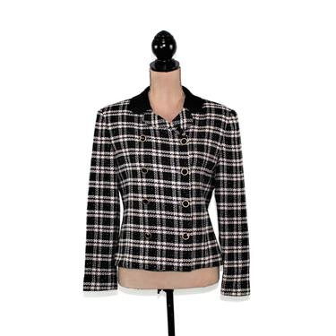 90s Cream & Black Plaid Blazer Women Medium, Double Breasted Tweed Jacket Size 8, Fall Winter Clothes, 1990s Vintage Clothing from Talbots by MagpieandOtis