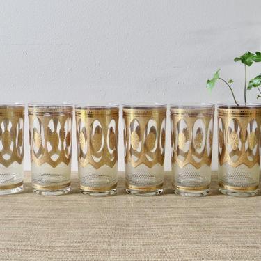 Vintage Barware - RARE Culver Regency White Highball Glasses - 22k Gold - Highball Glasses - Set of 6 - Culver Glasses - Retro Barware by SoulfulVintage