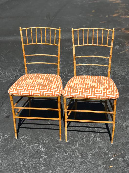 Great pair of vintage faux bamboo metal chairs by HolbrookBazaar