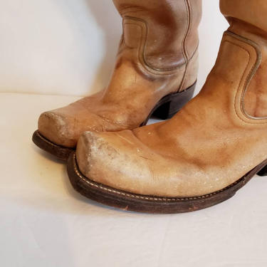 Vintage Light Brown FRYE Cowboy Boots / Mens 8 Country Western Beige Knee Boots Chunky Heel Boho Distressed Leather / Dirk by RareJuleVintage
