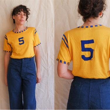 Vintage 60s Gold and Blue Rayon Jersey/ 1960s Striped Short Sleeve Felt Letter Athletic Uniform/ Size Medium by bottleofbread