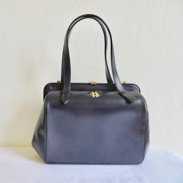 Vintage 1960's Bienen Davis Large Size Navy Blue Leather Structured Purse Handbag Top Handles Gold Metal Closure Hardware Made in Italy by seekcollect