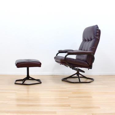 Danish Modern Leather Lounge Chair & Ottoman Stool by Unico by SputnikFurnitureLLC