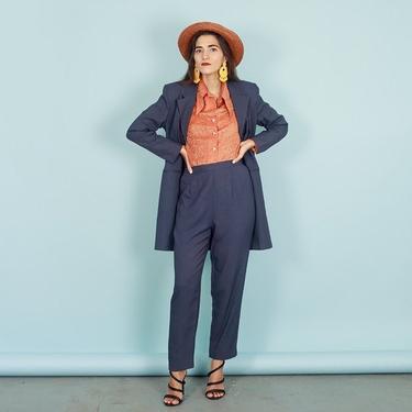 80s Dark Blue Chevron Print Suit Vintage Pattern Long Blazer Suit by AppleBranchesVintage