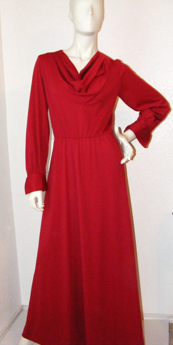 Vintage 1970s Long Maroon Cowl Neck Dress- Very Nice by AllMyItems