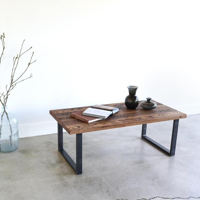Reclaimed Wood Coffee Table / Industrial U-Shaped Metal Legs by wwmake