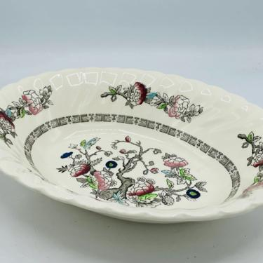 """Vintage Myott Staffordshire DYNASTY Swirled Indian Tree 10"""" Oval Vegetable Bowl England- Nice Condition by JoAnntiques"""