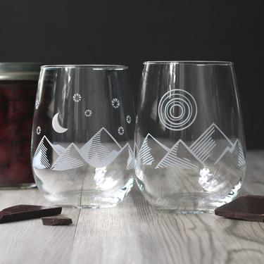 Good Day + Night Stemless Wine Glass Set - dishwasher-safe, engraved by BreadandBadger