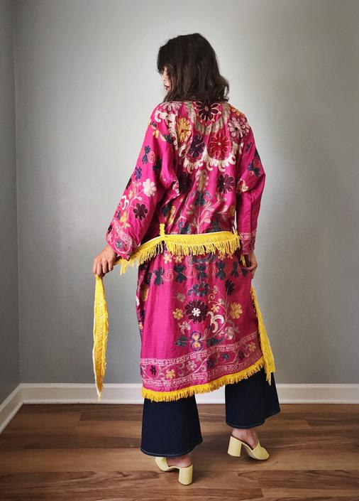 Vintage Authentic Uzbekistan Chapin Robe Pink by SpeakVintageDC