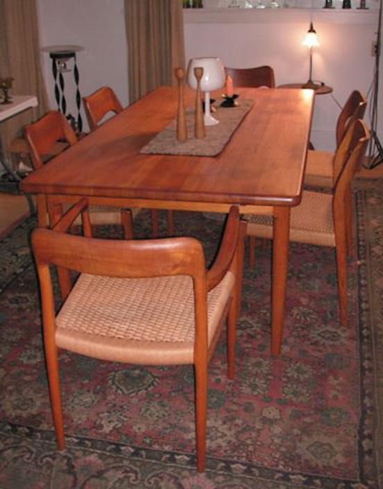 Free and Insured Shipping within US - Danish Mid Century Modern Dining Table Set with 6 J L Moller Solid Teak Dining Room Chairs Paper Chord by BigWhaleConsignment