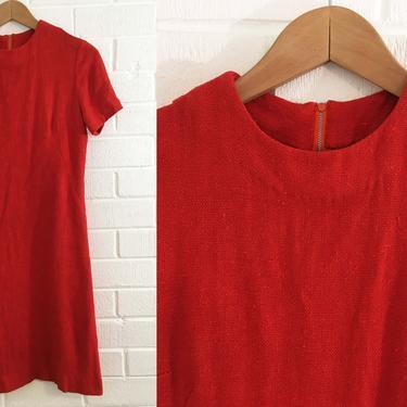 Vintage Orange Shift Dress 70s Mod Burnt Red 1970s Scooter Mod Twiggy Short Sleeve Women's Small Medium S M Boho Sheath by CheckEngineVintage