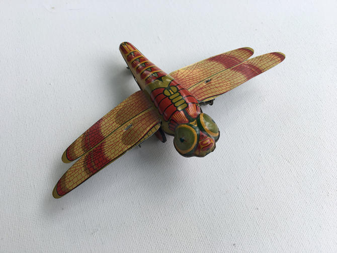 Vintage Tin Litho Mechanical Dragonfly, Friction Toy, Made In Japan, Tin Litho Dragonfly Toy by luckduck