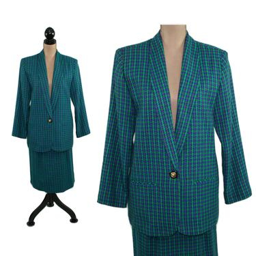 80s Tweed Skirt Suit Women Medium, Blue & Green Plaid Skirt and Blazer Jacket Set, 2 Piece 1980s Clothes Women, Vintage Clothing from LUCIA by MagpieandOtis